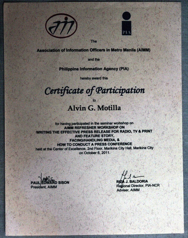 Alvin's certificate from Philippine Information Agency