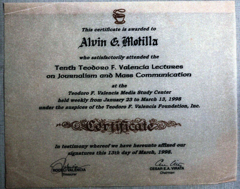 Alvin's lectures on Journalism and Mass Communication certificate