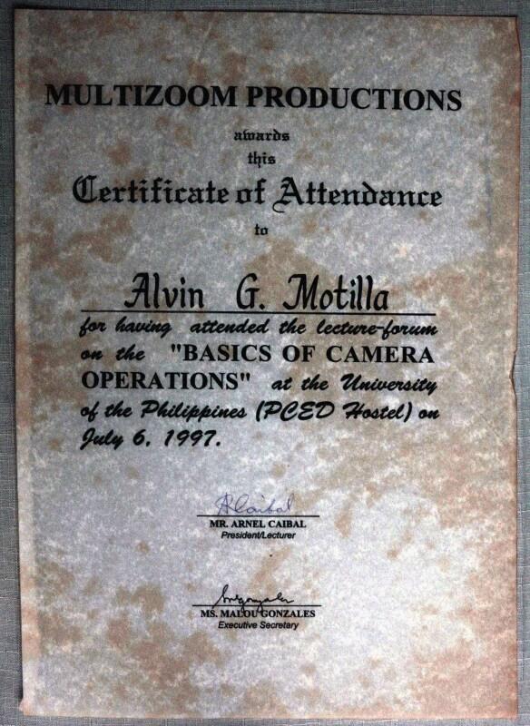 Alvin's video camera operation training certificate