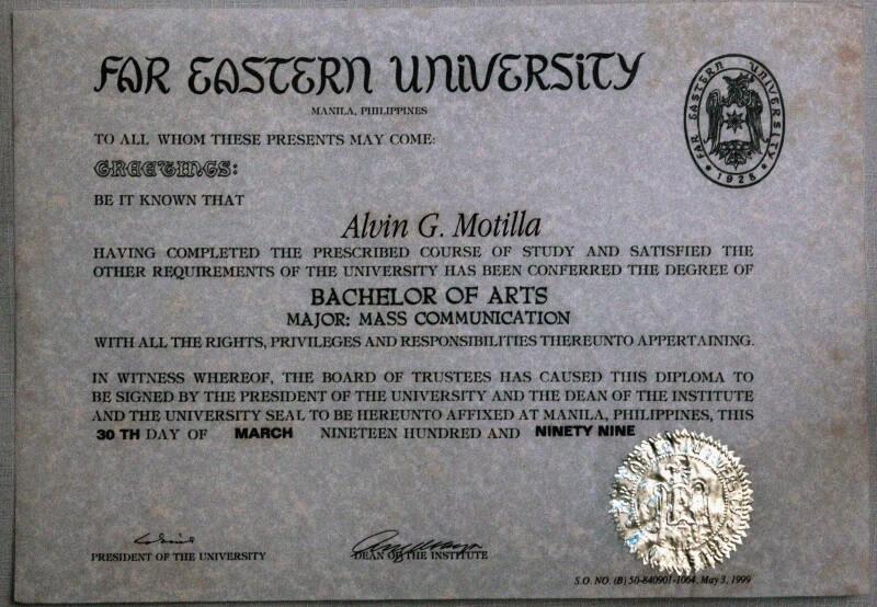 Alvin Motilla's college diploma