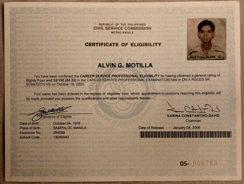 Civil Service Commission Eligibility of Alvin Motilla