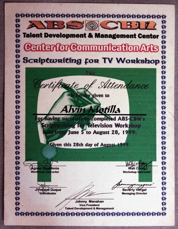 Alvin's script writing for TV workshop certificate from ABS-CBN